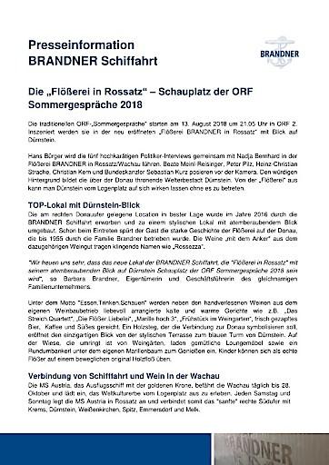 """Die """"Flößerei BRANDNER in Rossatz"""" ist Schauplatz der ORF Sommergespräche 2018"""