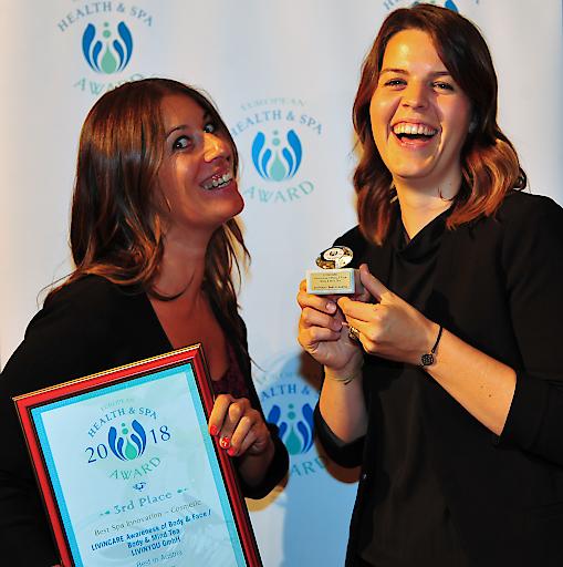 Die LIVINCARE Tee-Kollektion von Sandra Agerer und Andrea Pichler wurde mit dem 3. Preis in der Kategorie Best Spa Innovation – Cosmetic beim European Health & Spa Award 2018 ausgezeichnet.