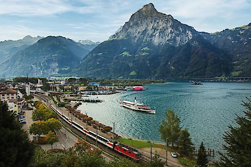SWISS TRAVEL SYSTEM - Gotthard Panorama Express bei Flüelen, Zentralschweiz.