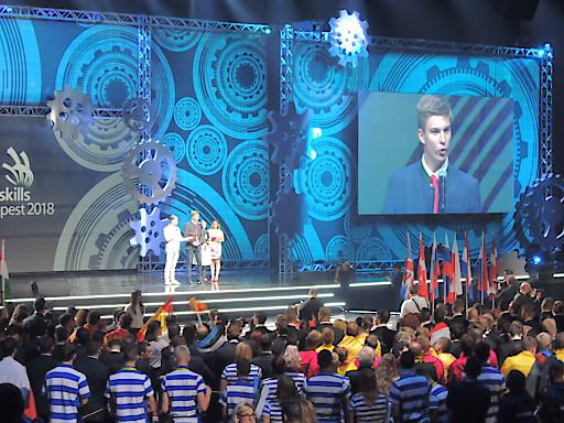 """Der Wiener Teilnehmer Oliver Konstantin Klocke erreichte das """"Medaillon for Excellence"""" im Bereich Hotel Rezeption bei den EuroSkills 2018 in Budapest"""
