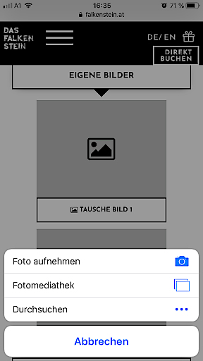 Screenshot INCERT Smartphone - Bildupload & Video am Gutschein