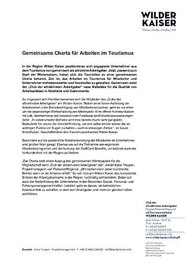 Gemeinsame Charta für Arbeiten im Tourismus