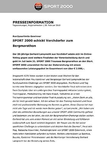 SPORT 2000 schickt Vorchdorfer zum Bergmarathon