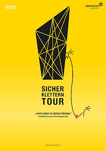 """Plakat zur """"Sicher Klettern""""-Tour des Alpenvereins, mit kostenlosen Workshops in den heimischen Kletterhallen."""