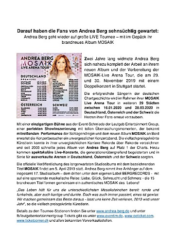 """Andrea Berg: Die erfolgreichste Sängerin der deutschen Chart-Geschichte veröffentlicht ihr neues Studioalbum """"MOSAIK"""""""