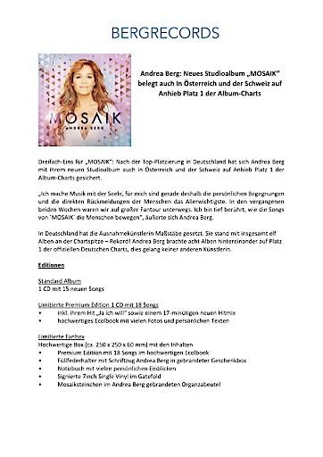 """Andrea Berg: Neues Studioalbum """"MOSAIK"""" belegt auch in Österreich und der Schweiz auf Anhieb Platz 1 der Album-Charts"""