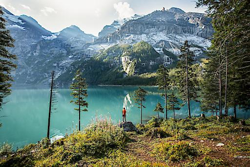 Via Alpina, 14. Etappe, Kandersteg-Adelboden: Morgen am Oeschinensee