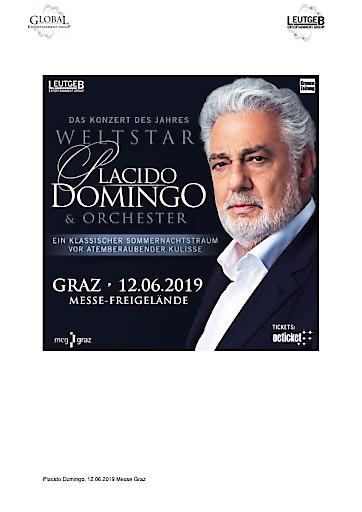 """Weltstar PLACIDO DOMINGO """"Ein klassischer Sommernachtstraum"""" am Mittwoch, 12. Juni 2019"""