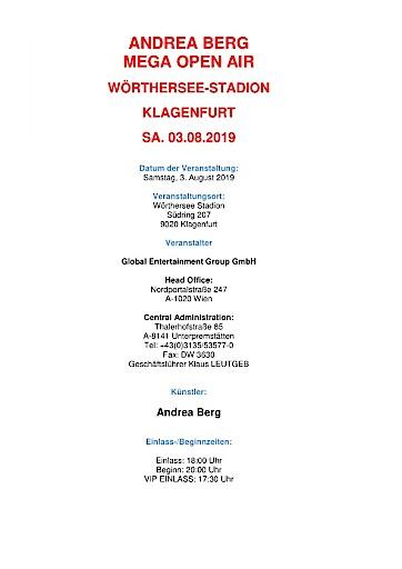 Andrea Berg das MEGA OPEN AIR im Wörthersee-Stadion Klagenfurt am 3. August 2019