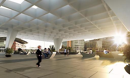 Der Platz unter dem donauSEGEL steht einen Großteil des Jahres den Wienerinnen und Wienern zur Verfügung.