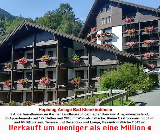 """Die Hapimag Anlage Bad Kleinkirchheim wurde um weniger als eine Million € verkauft. Nach """"aufwändiger"""" Renovierung nur einen Monat später vom neuen Besitzer als """"Alpenlandhof"""" wieder eröffnet!"""