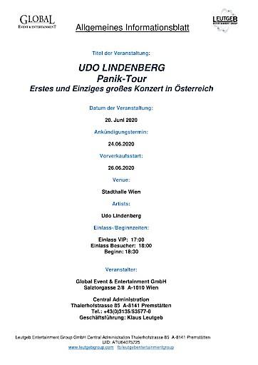 Leutgeb Entertainment Group holt UDO LINDENBERG zum ersten und einzigen großen Konzert nach Österreich