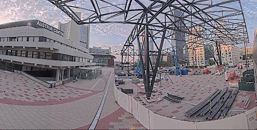 Blick durch Baustellenkamera