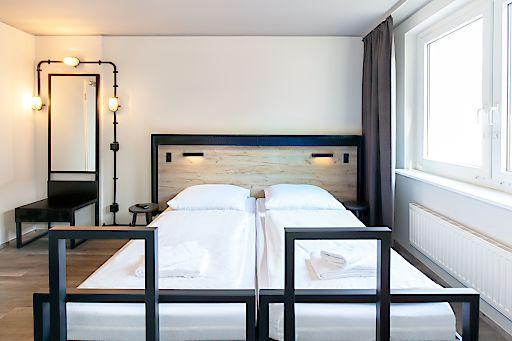 Beispiel für ein neues Doppelzimmer - hier im a&o Berlin Mitte