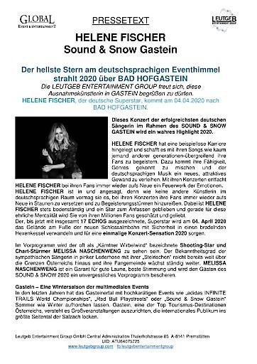 Die Sensation ist perfekt - HELENE FISCHER, der deutsche Superstar, kommt am 04.04.2020 nach BAD HOFGASTEIN