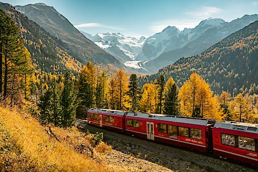 Rhätische Bahn bei der Montebello Kurve mit Morteratschgletscher und Piz Bernina im Herbst.
