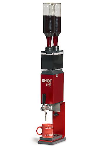 SHOT CUP Glühwein bzw. Heißgetränke Erhitzer -Darstellung mit Flüssigkeitsbehälter / Flaschenoption.