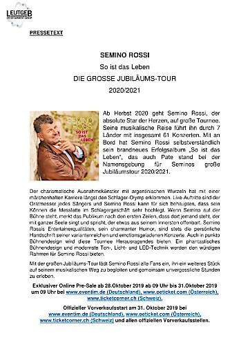 """SEMINO ROSSI """"SO IST DAS LEBEN"""" - Die große Jubiläums-Tour 2020/2021"""
