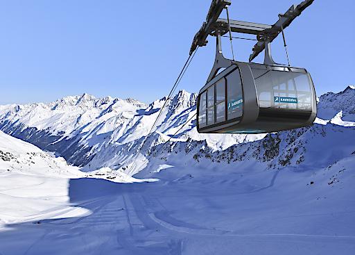 Auf einer Spannseillänge von 2.000 Metern kommt die Falginjochbahn mit nur zwei Stützen aus und ist äußerst windstabil.
