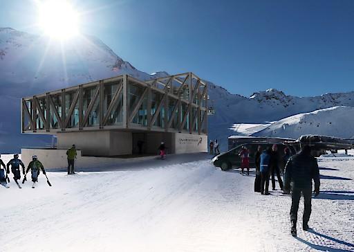 Die Talstation ist barrierefrei zugänglich und befindet sich direkt neben dem Parkplatz des Kaunertaler Gletscherskigebietes.