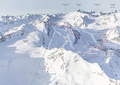 Das Projektpanorama bietet eine Übersicht über den geplanten Zusammenschluss von Pitztaler und Ötztaler Gletscher.