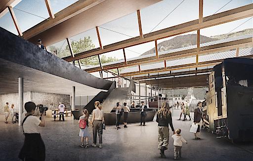 Visualisierung des Innenbereichs der neuen Talstation