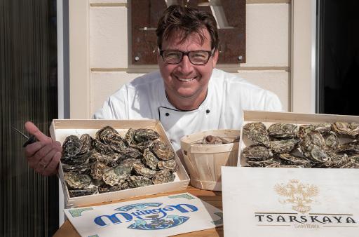 Markus Trocki mit seinen Austern