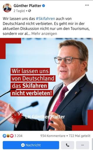 Facebook-Positing Landeshauptmann Günther Platter vom 28. November