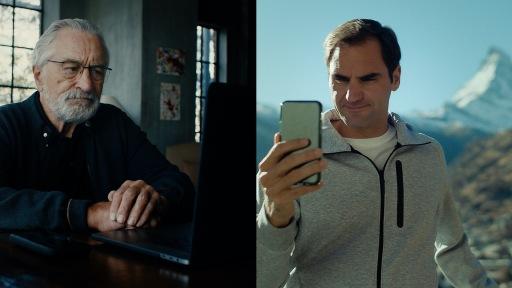 Screenshot aus dem Kurzfilm: Robert De Niro in New York (USA) und Roger Federer in Zermatt (Schweiz)