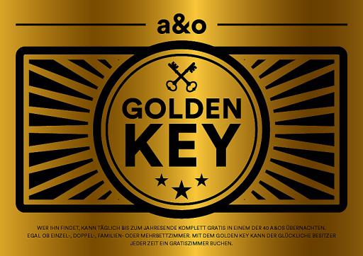 So sieht er aus, der begehrte Golden Key, der in jedem a&o Hostel versteckt ist.