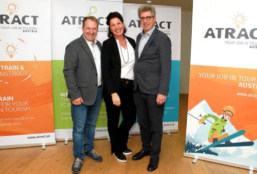 ATRACT ist eine Gemeinschaft von aktuell 20 Hoteliers und Gastronomen, die innovativ an der Lösung des eklatanten Mitarbeitermangels arbeitet und über einen Pool an Tourismus-Mitarbeitern aus ganz Europa verfügt. Die Gründer und Vorstände von ATRACT sind Mag. Karin M. Lindner, Alexander Prachensky und Josef Kirchmair.