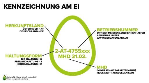 Kennzeichnung am Ei Infografik (Credit: Land schafft Leben)