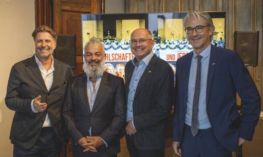 Hannes M. Schalle, Galerist Rudolf Budja, Servus TV-Intendant Ferdinand Wegscheider und ServusTV-Kulturchef Frank Gerdes. (Fotograf: Markus Christ).