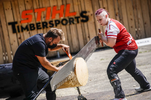 Juliana Einfalt of Austria competes in the Single Buck discipline at the STIHL TIMBERSPORTS® German Women Championship in Mellrichstadt, Germany on July 18, 2021.