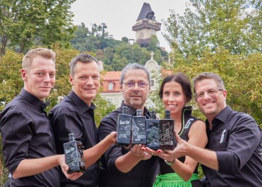"""Die Protagonisten von """"Home of Spirits"""" (v.l.n.r): Thomas Wohlmuth, Herbert Traumüller, Wolfgang Thomann, Yvonne Jaworski und Bernd Brünner"""