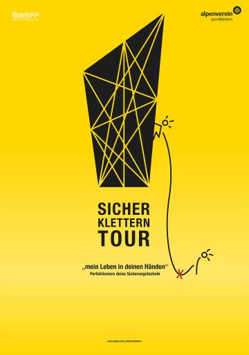 """Plakat """"Sicher Klettern-Tour des Alpenvereins"""